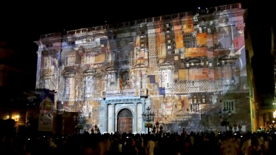 Slidemedia + Eyesberg Studio - La Merce 2018 Projection mapping ODA DES DEL CEL - 10