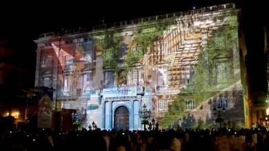 Slidemedia + Eyesberg Studio - La Merce 2018 Projection mapping ODA DES DEL CEL - 11