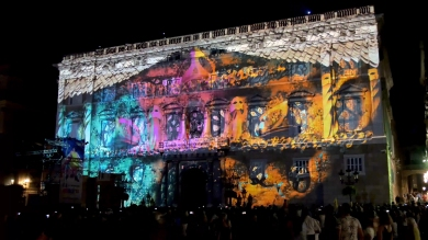 Slidemedia + Eyesberg Studio - La Merce 2018 Projection mapping ODA DES DEL CEL - 15