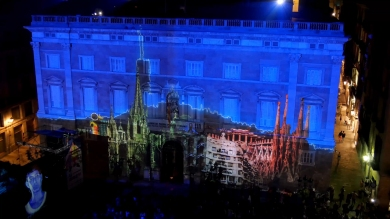 Slidemedia + Eyesberg Studio - La Merce 2018 Projection mapping ODA DES DEL CEL - 17