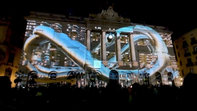 Slidemedia + Eyesberg Studio - La Merce 2018 Projection mapping ODA DES DEL CEL - 2