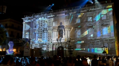 Slidemedia + Eyesberg Studio - La Merce 2018 Projection mapping ODA DES DEL CEL - 29
