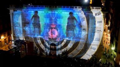 Slidemedia + Eyesberg Studio - La Merce 2018 Projection mapping ODA DES DEL CEL - 6