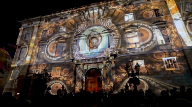 Slidemedia + Eyesberg Studio - La Merce 2018 Projection mapping ODA DES DEL CEL - 7