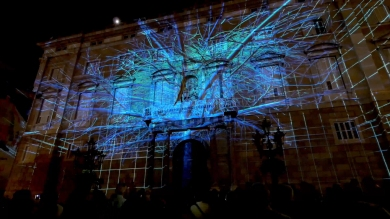 Slidemedia + Eyesberg Studio - La Merce 2018 Projection mapping ODA DES DEL CEL - 8